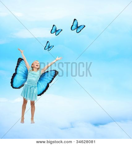 Happy Young Girl With Butterflies