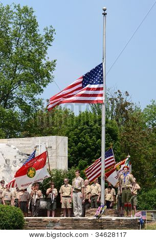 Memorial Day - Boy Scouts Respect The Flag