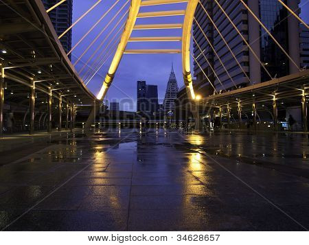 Skywalk At Bangkok Downtown Square Raining Day