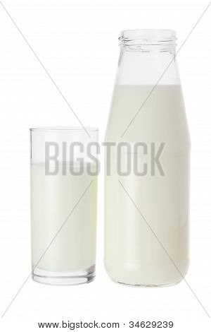 Glass And Bottle Of Milk