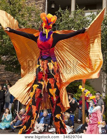 Stilt Walker In Bird Costume