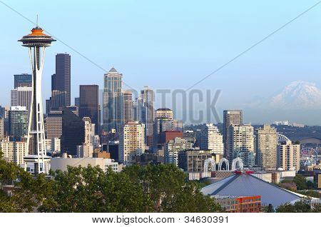 Seattle Skyline And Mt. Rainier.