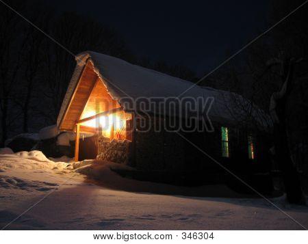 Winter Mountain Alpine Hut Under Snow At Night