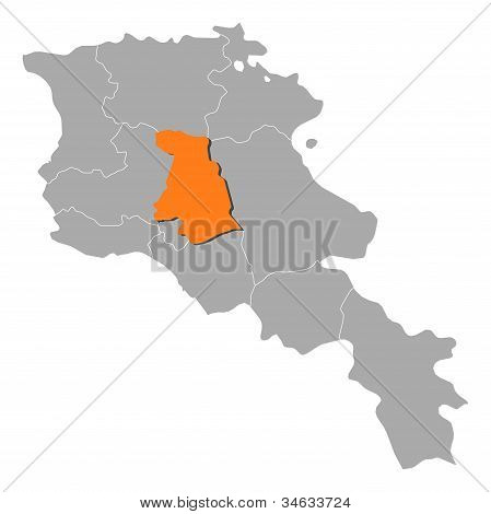 Map Of Armenia, Kotayk Highlighted