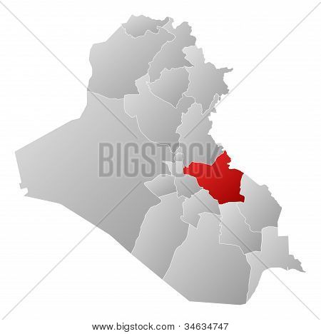 Map Of Iraq, Wasit Highlighted