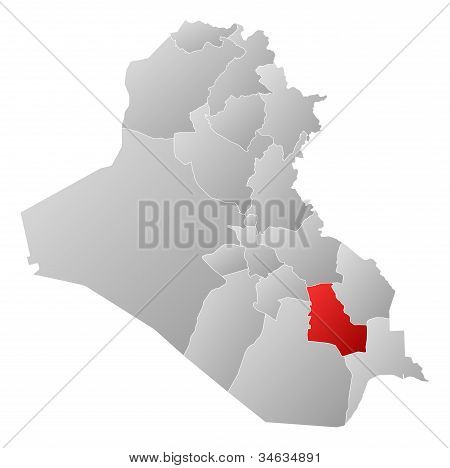 Map Of Iraq, Dhi Qar Highlighted