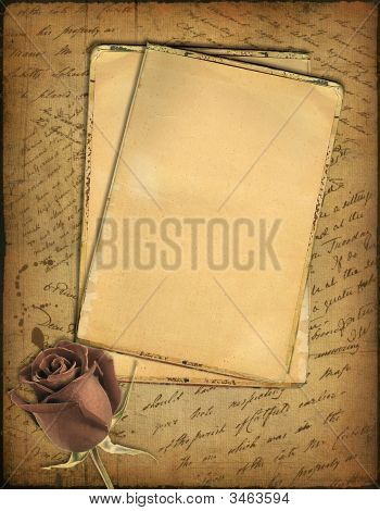 Old Paper With The Hand-Written Text And A Rose