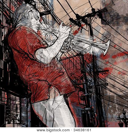 Vector illustration of a jazz music trumpet musician on a grunge cityscape background