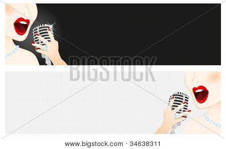 Banners Of Beautiful Woman Singing In Microphone