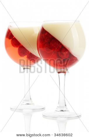 fruit jelly with raspberries in glasses isolated on white