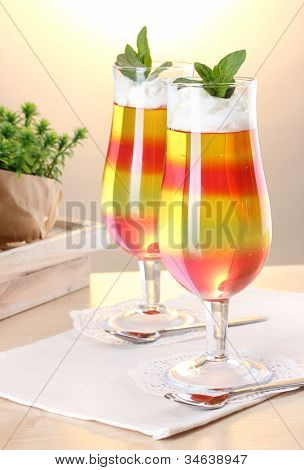 fruit jelly in glasses on tabla in cafe