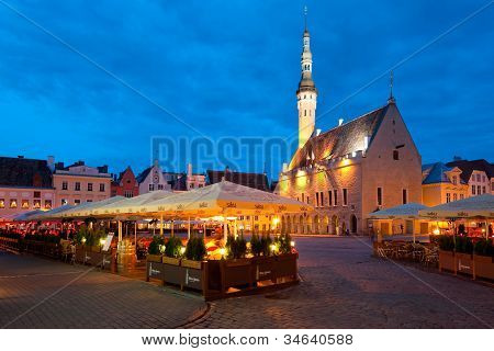 Night Tallinn Town Hall Square