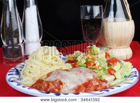 Chicken Parmigiana And Wine