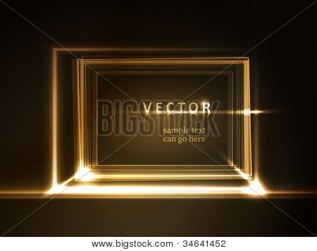 Overlying semitransparent rectangles with light effects form a golden glowing frame on dark brown background. Space for your message, eps10.