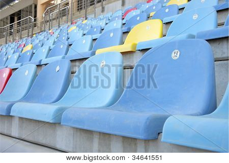 Close view of seats in main grandstand of Bahrain International Circuit