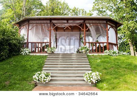 Wedding wooden arbour