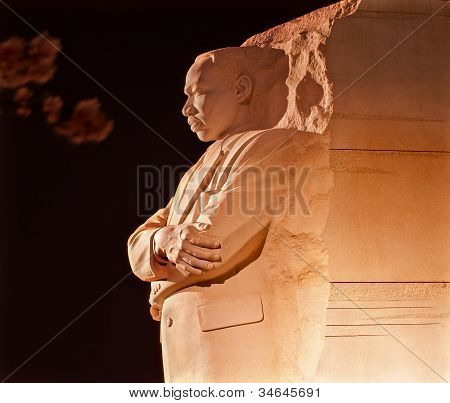 Martin Luther King Memorial Cherry Blossoms Evening Washington Dc