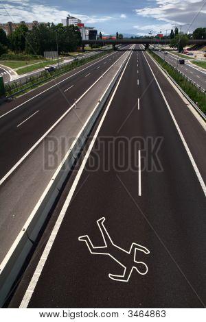 Contorno de giz na estrada