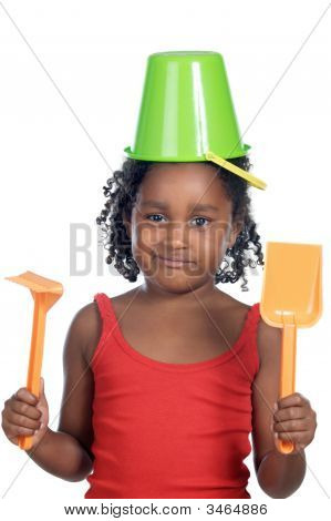 Girl With Bucket In Her Head