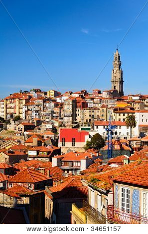city roofs and tower of Clerigos Church, Porto, Portugal