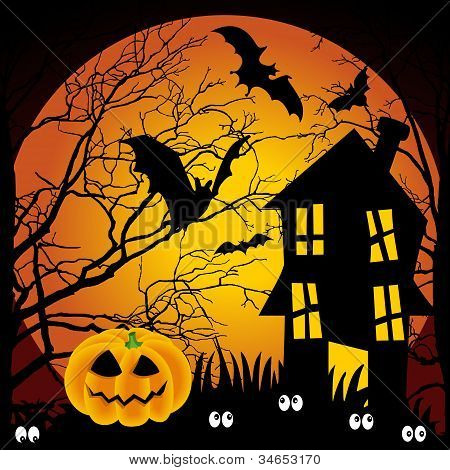 Halloween night haunted house with bats and pumpkin