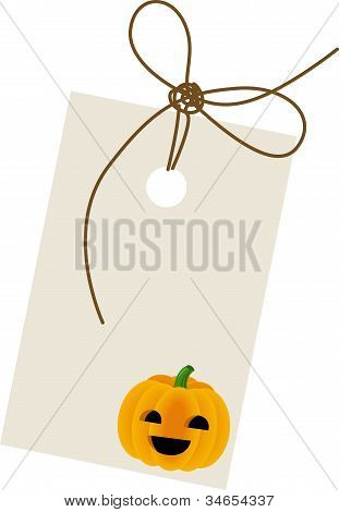 Halloween pumpkin with label
