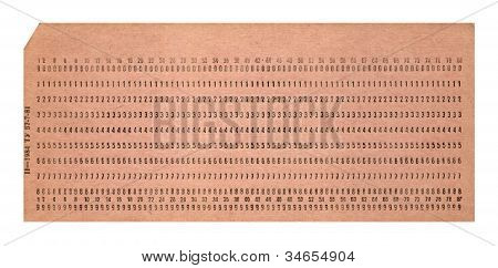 Vintage Punched Card Isolated On White Background, Retro Technology, Nostalgia