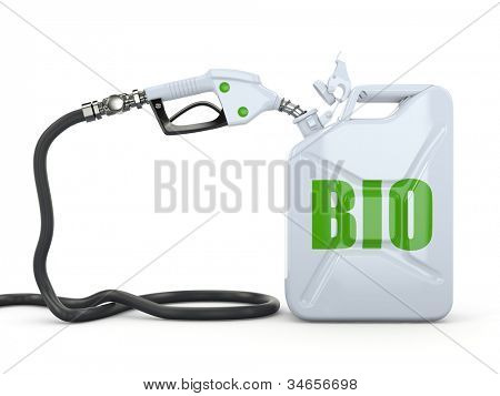 Biofuel. Gas pump nozzle and jerrycan. 3d