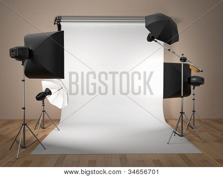 Foto-Studio-Equipment. Platz für Text. 3D