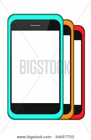 Vector Smartphone In A Cover Set Isolated On White. Eps 10