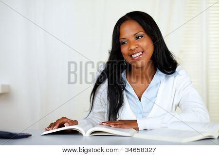 Beautiful Black Woman Studying