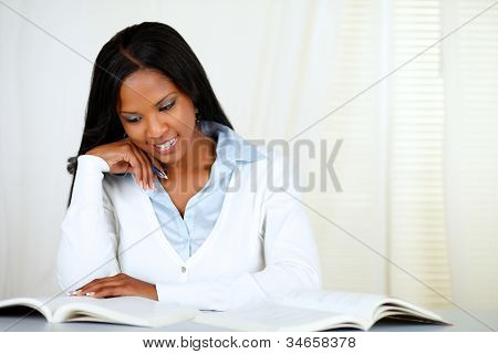 Afro-american Young Black Woman Learning