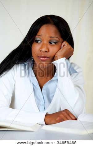 Beautiful Boring Black Woman Studying