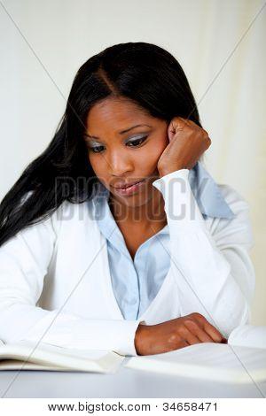 Beautiful Tired Woman Studying