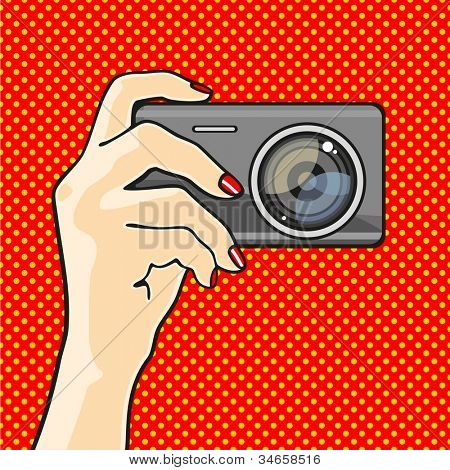 Illustration of a hand holding a photo camera (raster version)