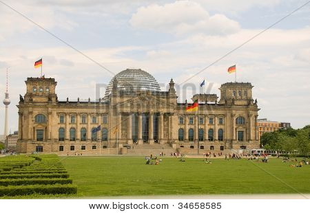 Reichstag Parliament Building With Glass Dome Berlin Germany
