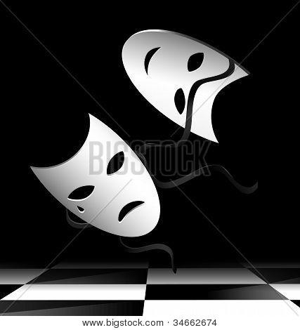two flying white-black mask