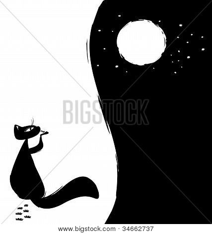 black-white background cat and moon