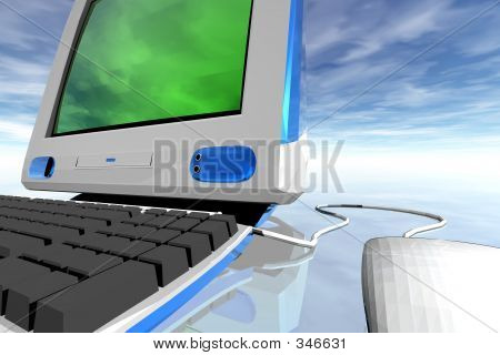 Desktop Computer And Clouds