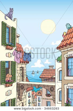 Old Mediterranean city near the sea.
