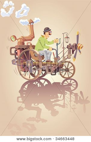 Inventor and his steam car.