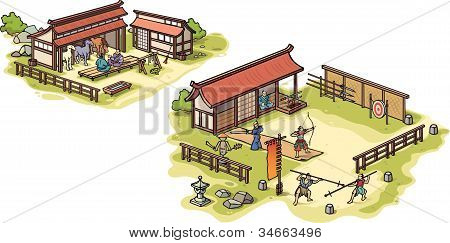 Ancient Japanese samurai training camp and the stables.