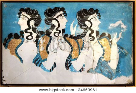 Minoan Ladies Mural Painting Fresco