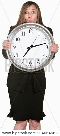 Excited Businesswoman Holding A Clock