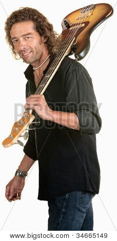 Sexy Guitar Player Over White