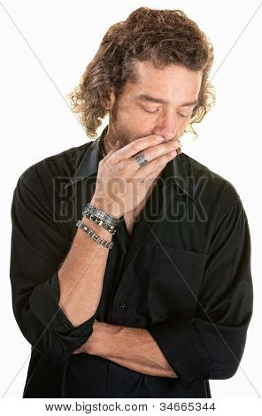 Pensive Man Over White