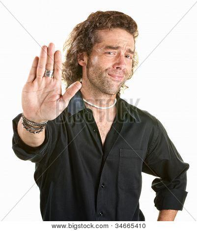 Man Gestures Stop