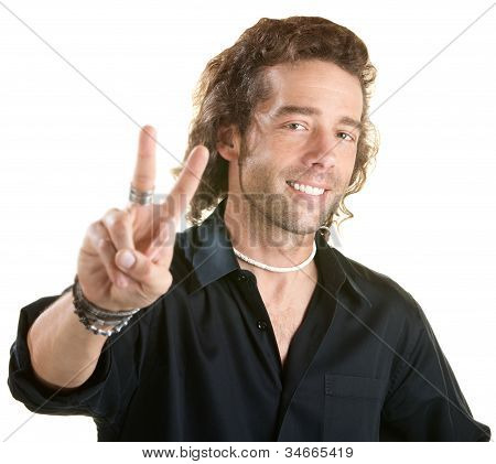 Man Makes Peace Sign