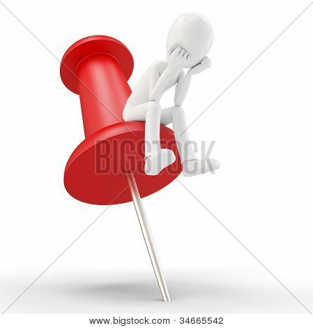 3D Man Sitting In A Thoughtful Thinker Pose