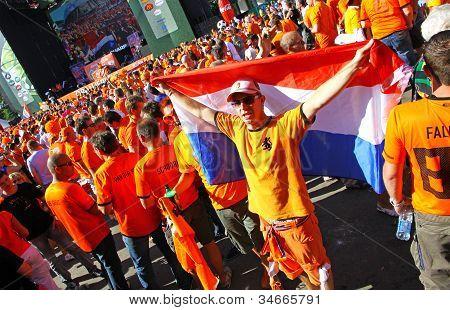 Holland Football Team Supporters Walk On A Street Of Kharkiv